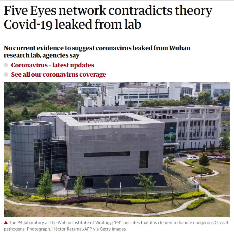 五眼联盟情报人士:无证据表明新冠源于武汉病毒所图片