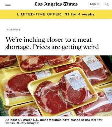 △《洛杉矶时报》报道:最近几周,美国至少有6家大型肉类加工厂关门。(图片来源:Getty Images)