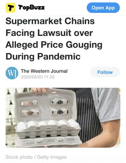 △《西部日报》报道截图:地区法院起诉零售商哄抬物价