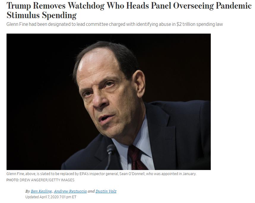 △《华尔街日报》报道,特朗普将新冠肺炎疫情财政监督委员会主席费恩解职。