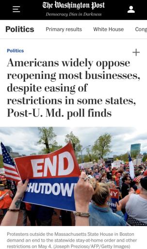 △《华盛顿邮报》与马里兰大学的联合民意测验显示,美国人民强烈反对经济重启