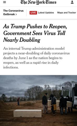 △《纽约时报》:专家认为实际死亡人数会比政府预测还高