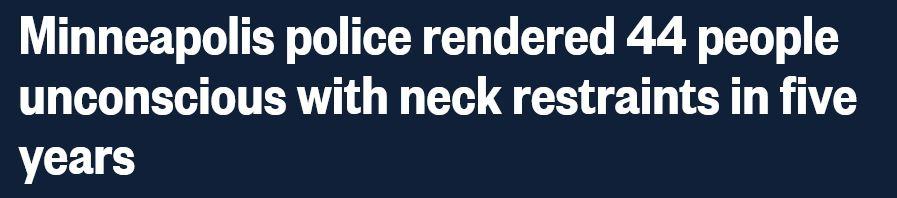 """5年来 44人因明尼阿波利斯警方""""锁喉""""失去意识"""