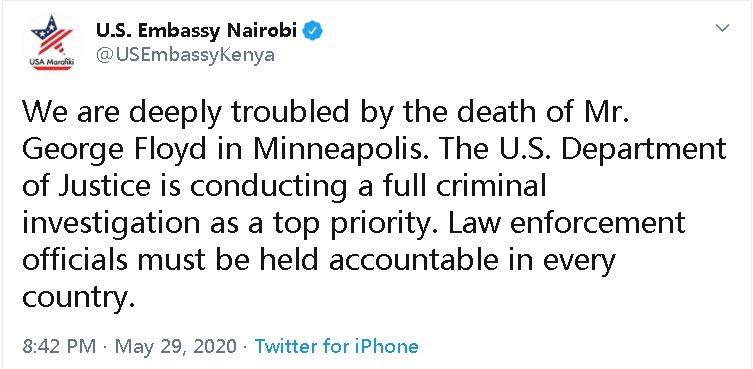 。S. 非洲大使馆在弗洛伊德的死亡评论区上的帖子被推翻了 乌干达
