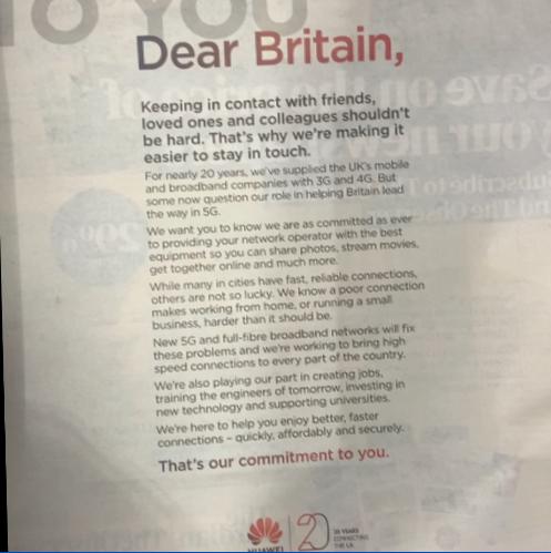 英国:5G话题再受关注 华为称政府相关政策决定未改变图片