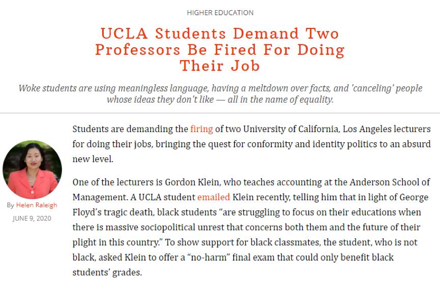 """(美国右翼保守派网站""""联邦党人""""刊登的一篇文章就认为克莱因没有做错,错的是学生)"""