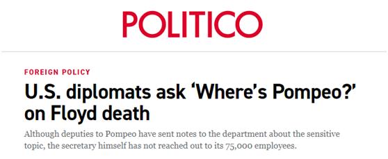 """(政客网站:美国外交官发出疑问,""""蓬佩奥在哪里?"""")"""