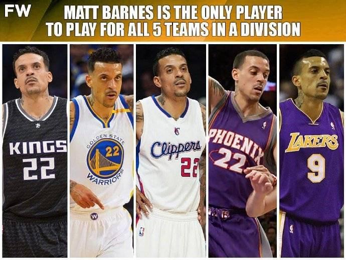 马特-巴恩斯是史上唯一一位 为太平洋赛区5队都效力过球员