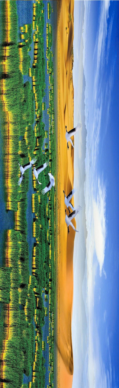 沙湖,沙、水、苇、鸟、山五大景源的有机连系 图/宁夏回族自治区人民当局官网