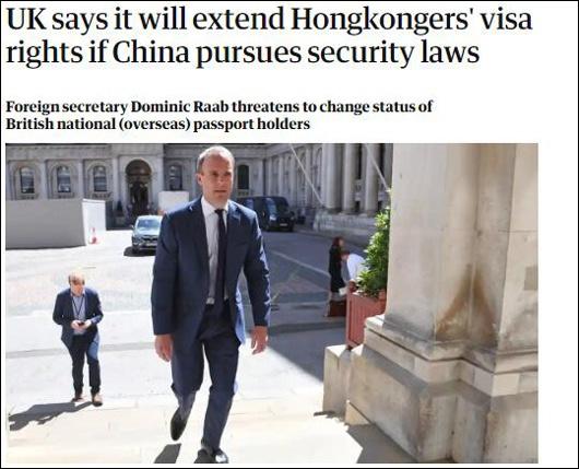 拉布声称扩大签证权利,28日《卫报》报道截图