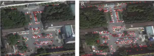 武汉某医院停车场2018年10月(L)和2019年10月的卫星图像 照片:哈佛大学