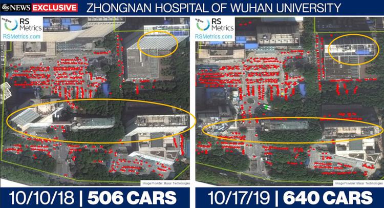 黄色圈出部门可以比拟出,2018年和2019年卫星图拍摄角度差别