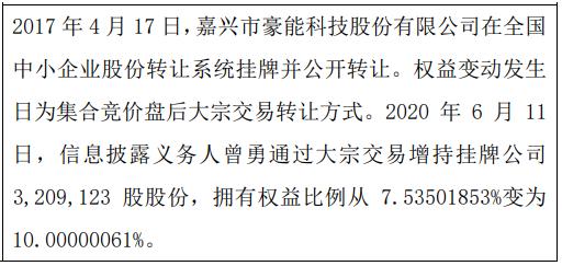 豪能科技股东曾勇增持320.91万股 权益变动后持股比例为10%