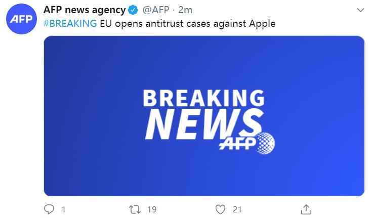 欧盟对苹果公司提起反垄断诉讼