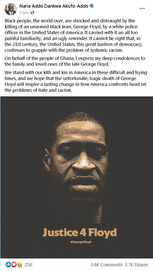 加纳总统谴责美国系统性种族歧视