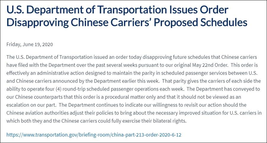 """美国拒绝中国航司加开航班,还喊着要航班""""对等""""图片"""