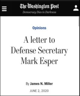 △前国防部副部长詹姆斯·米勒在《华盛顿邮报》发表公开信,辞去国防科学委员会职务