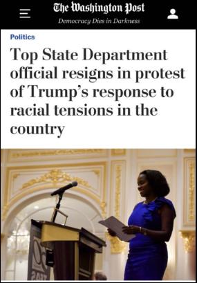 △《华盛顿邮报》邮报指出,泰勒的辞职相当于对特朗普在国家动荡之际管理手段的一纸起诉书