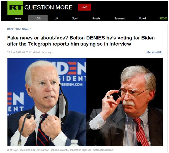 """假新闻还是""""变脸""""?博尔顿否认将在大选中为拜登投票"""