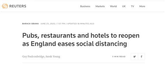 英国:7月4日起社交距离从2米缩减为1米