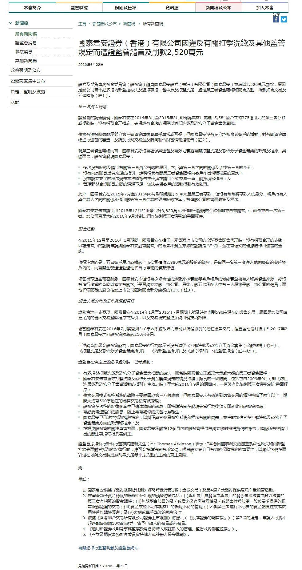 证监会再出手,国泰君安香港被罚2520万港元