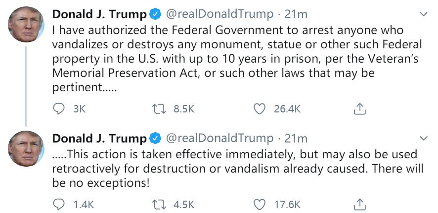 特朗普授权联邦政府逮捕破坏雕像者 最高可判10年