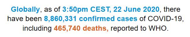 世卫组织:全球新冠肺炎确诊病例超过886万例