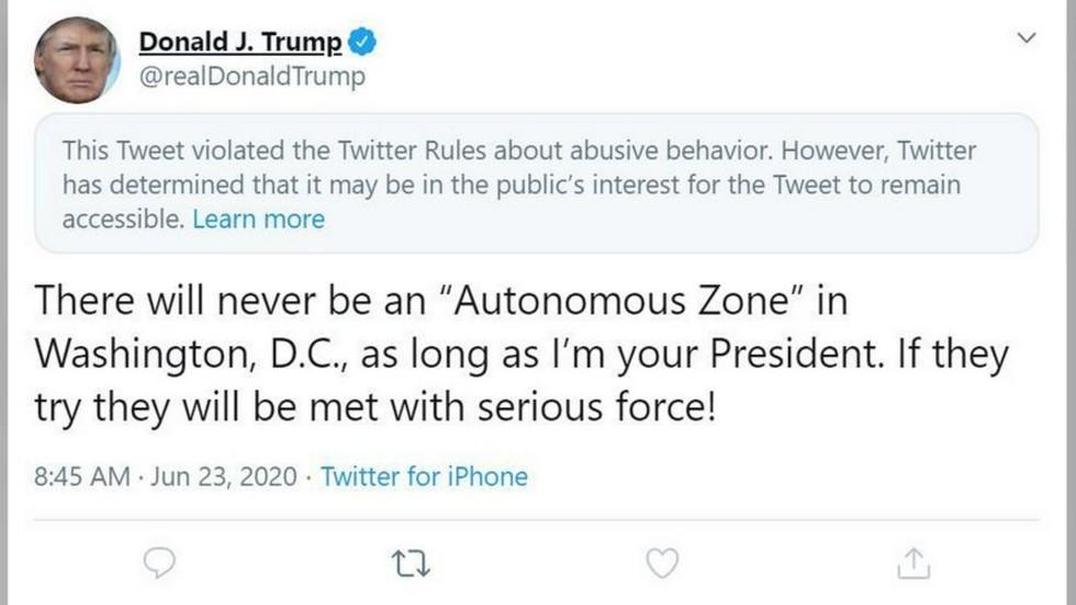 推特隐藏了特朗普的推文(推特截图)