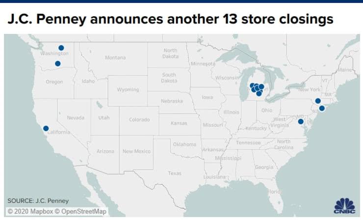 为重组业务 彭尼百货宣布再关闭13家门店