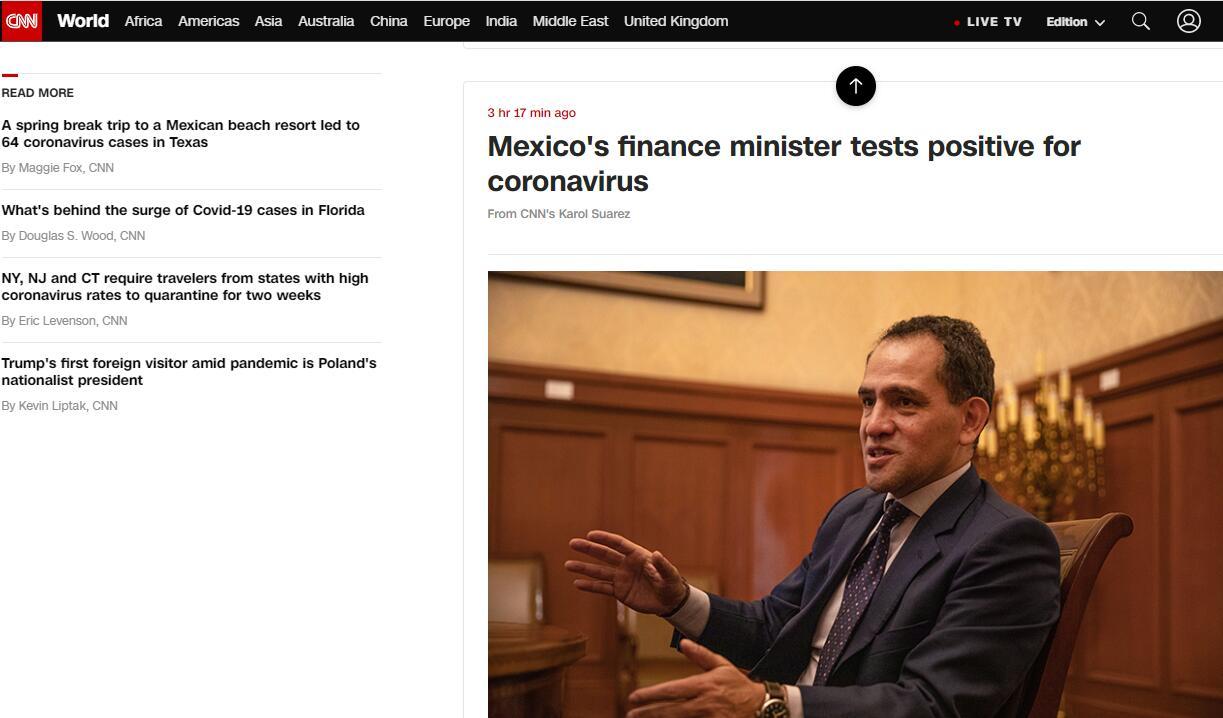 墨西哥财政部长新冠检测呈阳性 曾多次与总统有接触