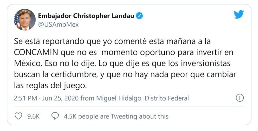 。S. 墨西哥大使说,现在不是在墨西哥投资的合适时机|墨西哥|北美洲|美国