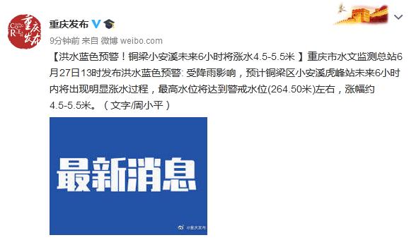 摩天测速,总站发布摩天测速洪水蓝色预警图片