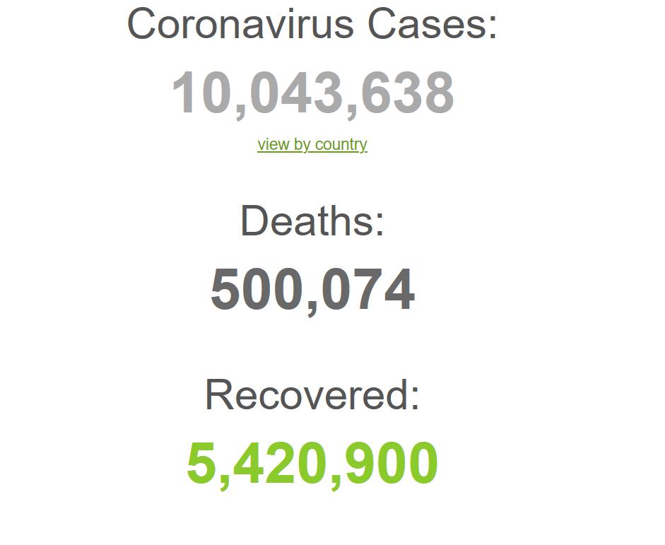 机构统计:全球新冠肺炎累计死亡病例已超50万例