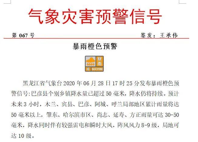 紧急预警!冰雹+雷电+10级阵风 黑龙江省暴雨橙色预警来袭图片