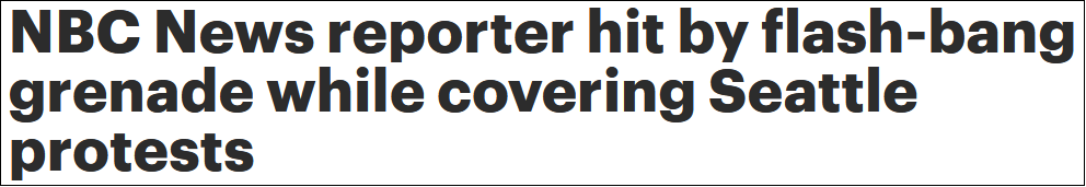 美国NBC记者现场直播示威活动 遭闪光弹击中