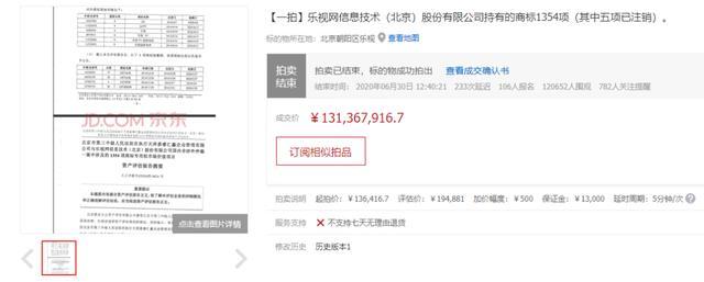 乐视网1300余件商标拍出1.31亿元