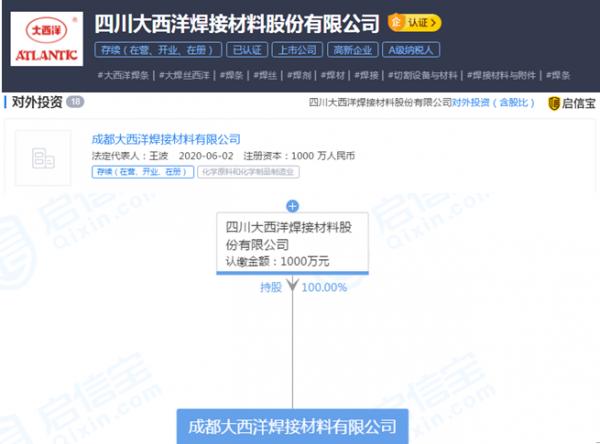 四川大西洋焊接材料股份有限公司成立新公司