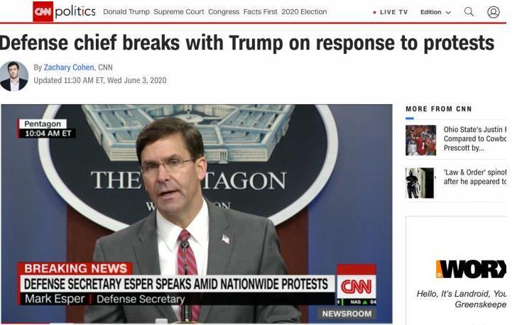 △CNN报道,国防部长马克·埃斯珀表示美国种族歧视现象真实存在