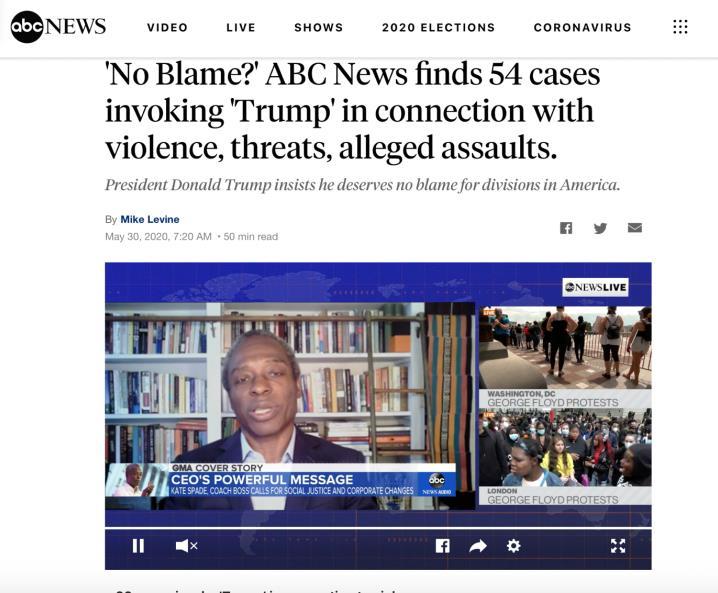 △美国广播公司(ABC NEWS)报道,至少54起种族歧视暴力事件与特朗普言论有关