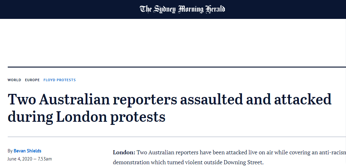 澳媒两位记者直播伦敦抗议现场:一人被威胁吓到尖叫