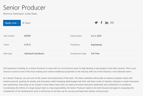343 Industries为新《光环》游戏招募制作人