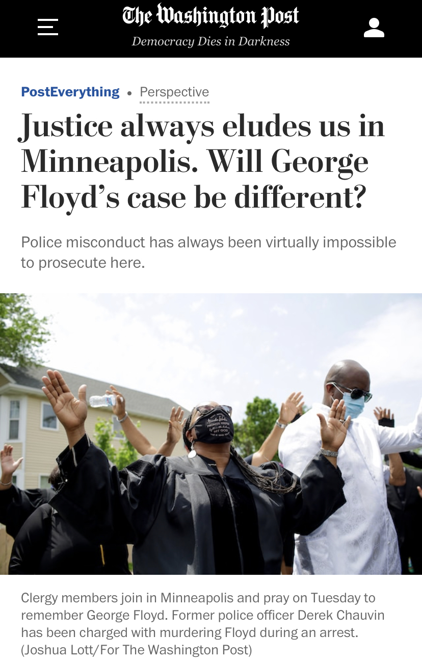 """△《华盛顿邮报》报道,正义不能只是""""白色"""""""