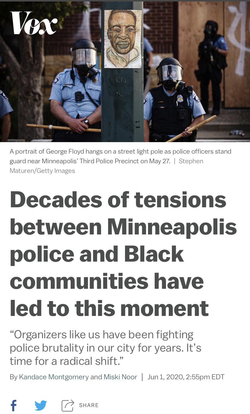 △Vox报道,多年来,明尼阿波利斯警方与非裔社区间的紧张关系导致了弗洛伊德惨剧的发生