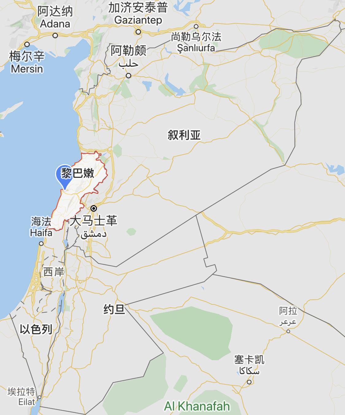 △地图中黎巴嫩、以色列和叙利亚的位置