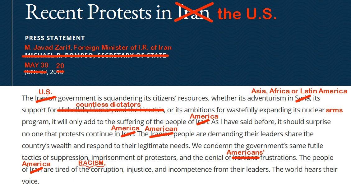 """伊朗外交部长扎里夫将一份2018年美国针对伊朗的声明替换主语,将这份檄文""""物归原主""""。(图源:伊朗外长扎里夫个人推特)"""