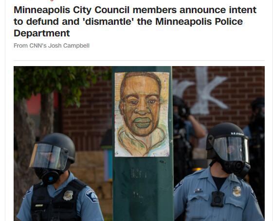 美媒:明尼阿波利斯议会决定启动解散当地警察局程序