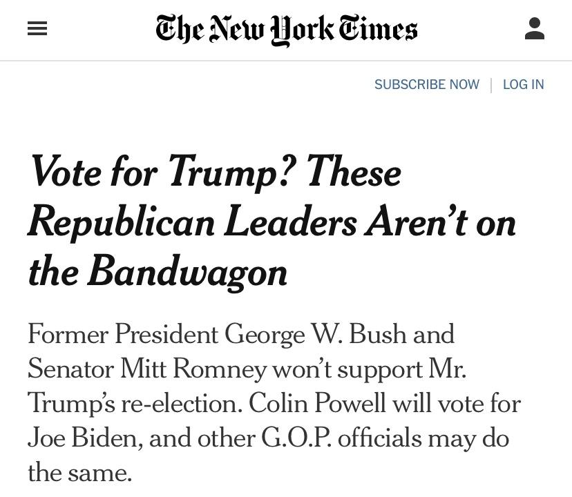 """△《纽约时报》截图 """"投票给特朗普?这些共和党领袖不会随波逐流"""""""