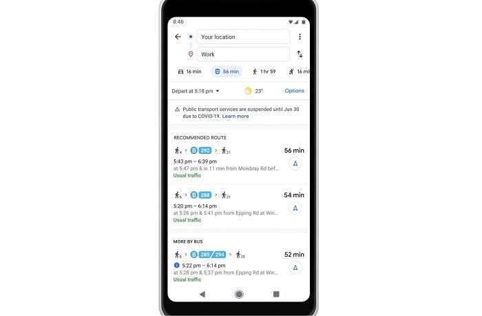 谷歌地图应用更新:Android与iOS版已加入COVID-19提醒功能