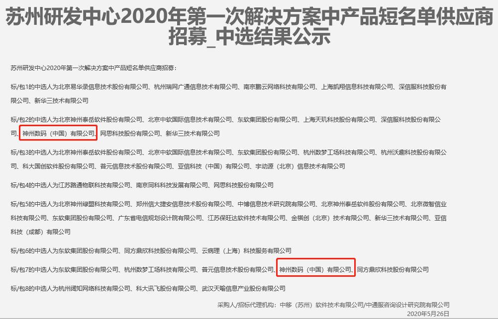 中选!神州数码成为中国移动苏州研发中心首批云计算与政务云解决方案供应商