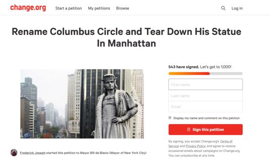 美国民众发起拆除雕像请愿 目标:哥伦布!